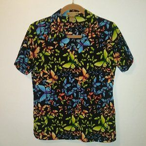 Notations Vintage Butterfly Print Short Slv Blouse